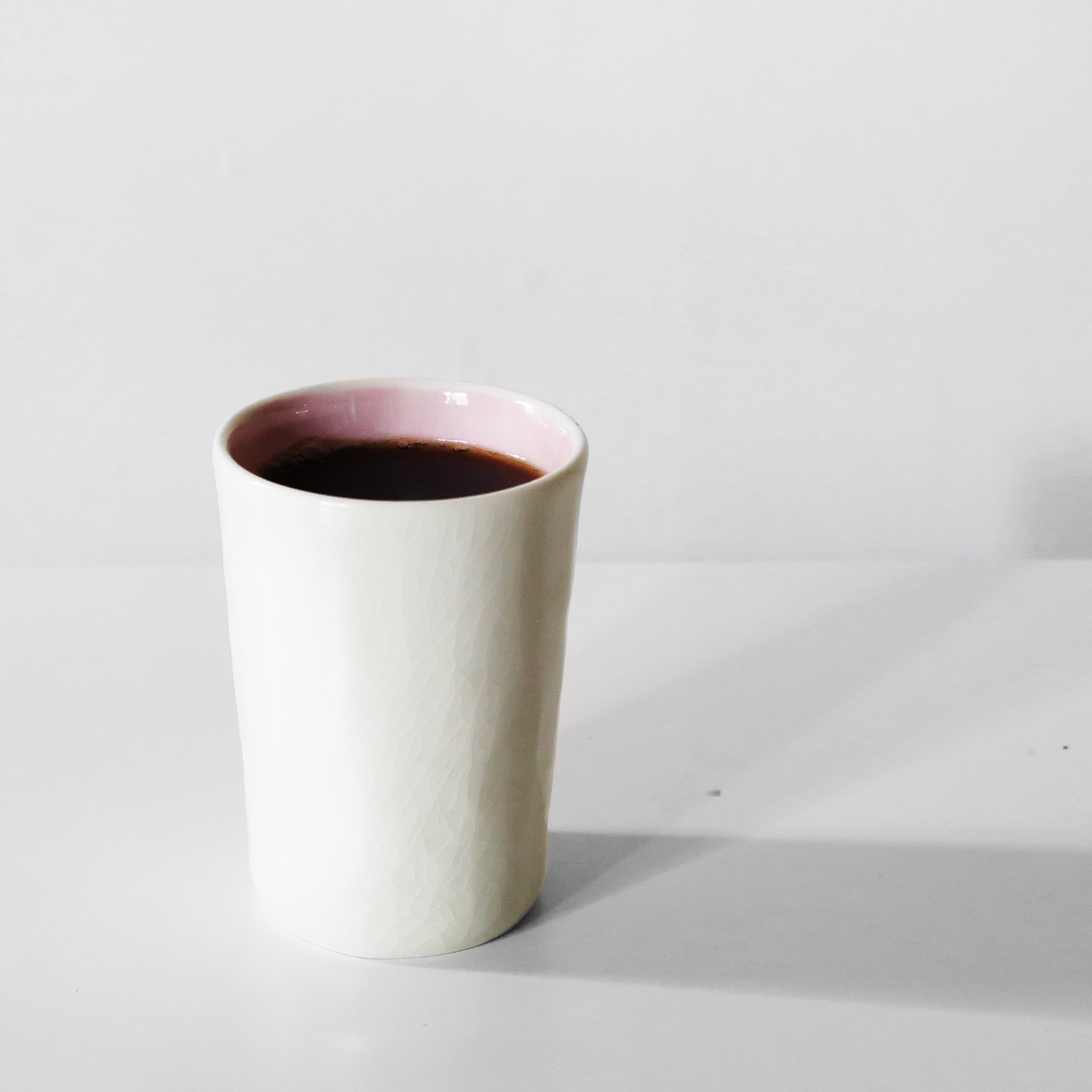 Handmade White & pink glazed ceramic mug By SkandiHus