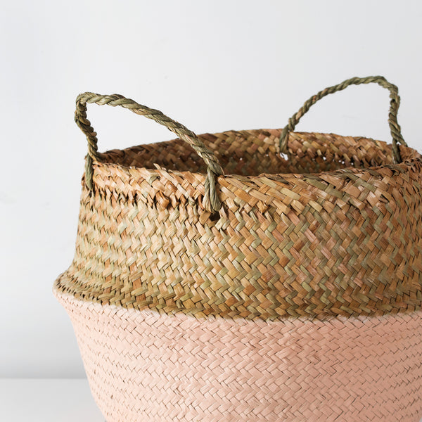 Sea grass storage basket with dusty pink base