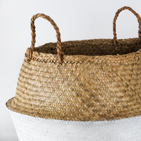 Large wicker basket with white base