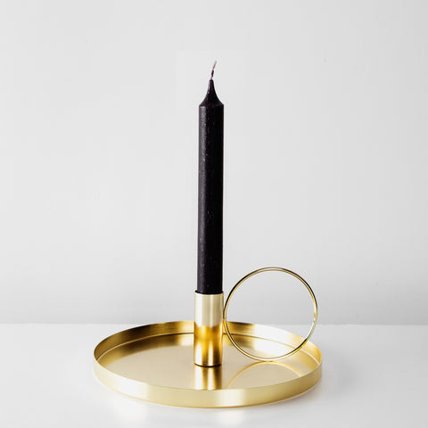 Gold metal candlestick holder