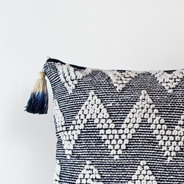Handmade Square dhurrie navy textured Cushion