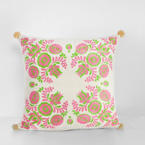 Handmade embroidered cushion with pom poms
