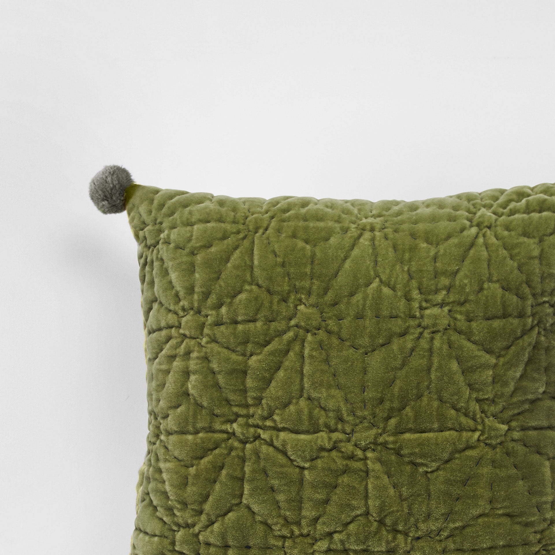 Handmade olive velvet Cushion with pompoms