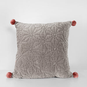 Handmade grey velvet Cushion with pompoms
