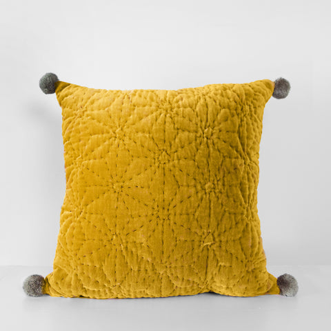Handmade mustard velvet Cushion with pompoms
