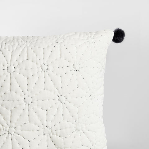 Handmade off white velvet Cushion with pompoms
