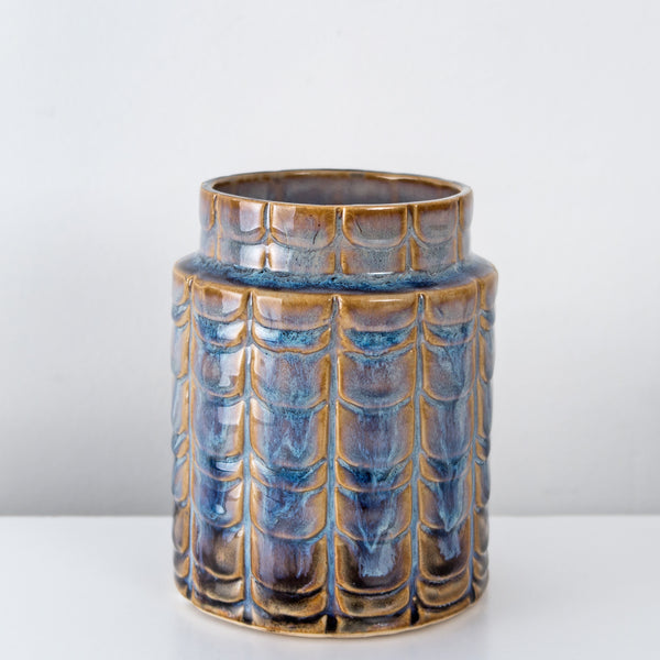Stoneware blue glazed decorative vase