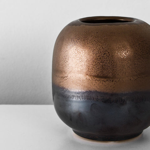 Stoneware bronze glazed decorative vase