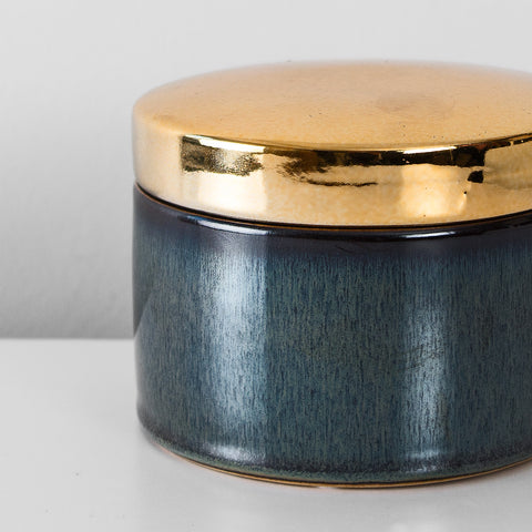 Indigo & gold glazed decorative jar