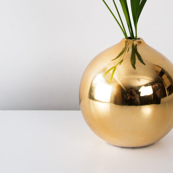 Gold Glazed round vase