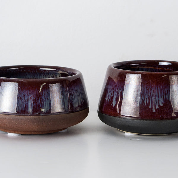 Two Plum Glazed stoneware pinch pots
