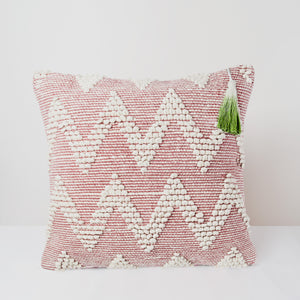 Handmade Square dhurrie pink textured Cushion