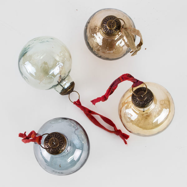 Set of four glass Baubles