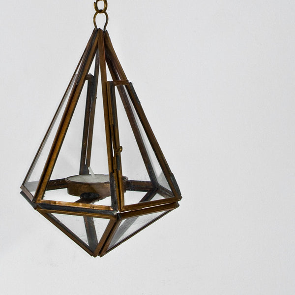 Geometric brass and glass lantern (Only 1 left)