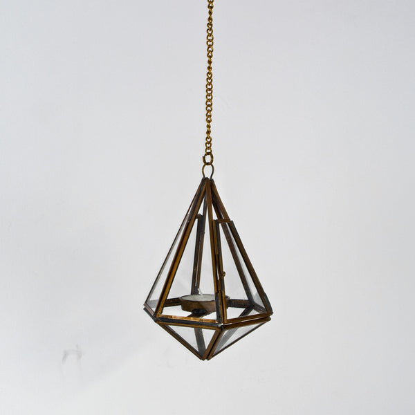 Geometric brass and glass lantern