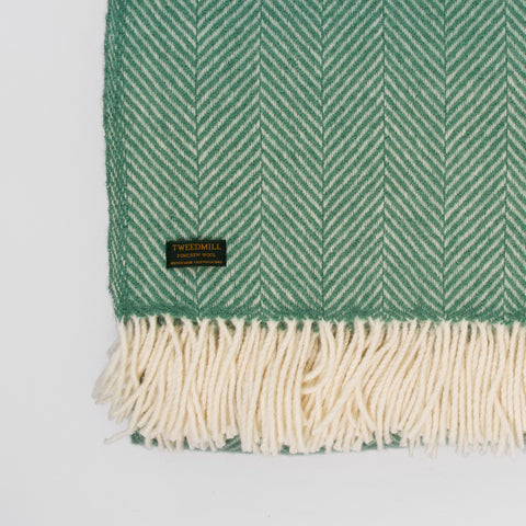 Fishbone Sea Green New Wool Throw