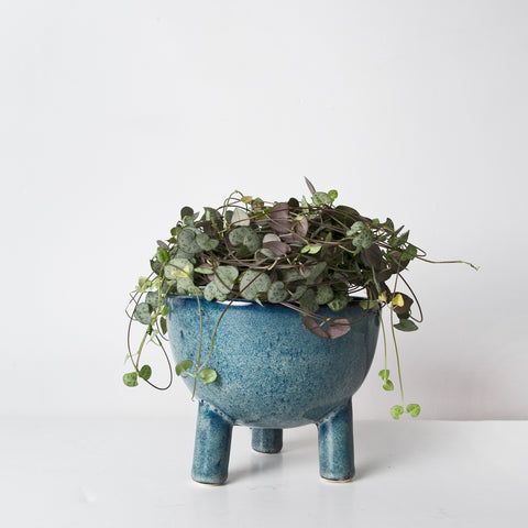 Blue glazed Stoneware plant pot