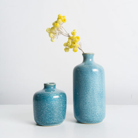 Blue glazed stoneware small vase
