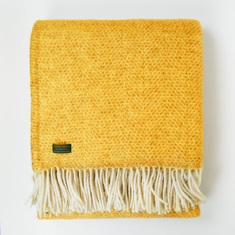 Beehive Mustard New Wool Throw