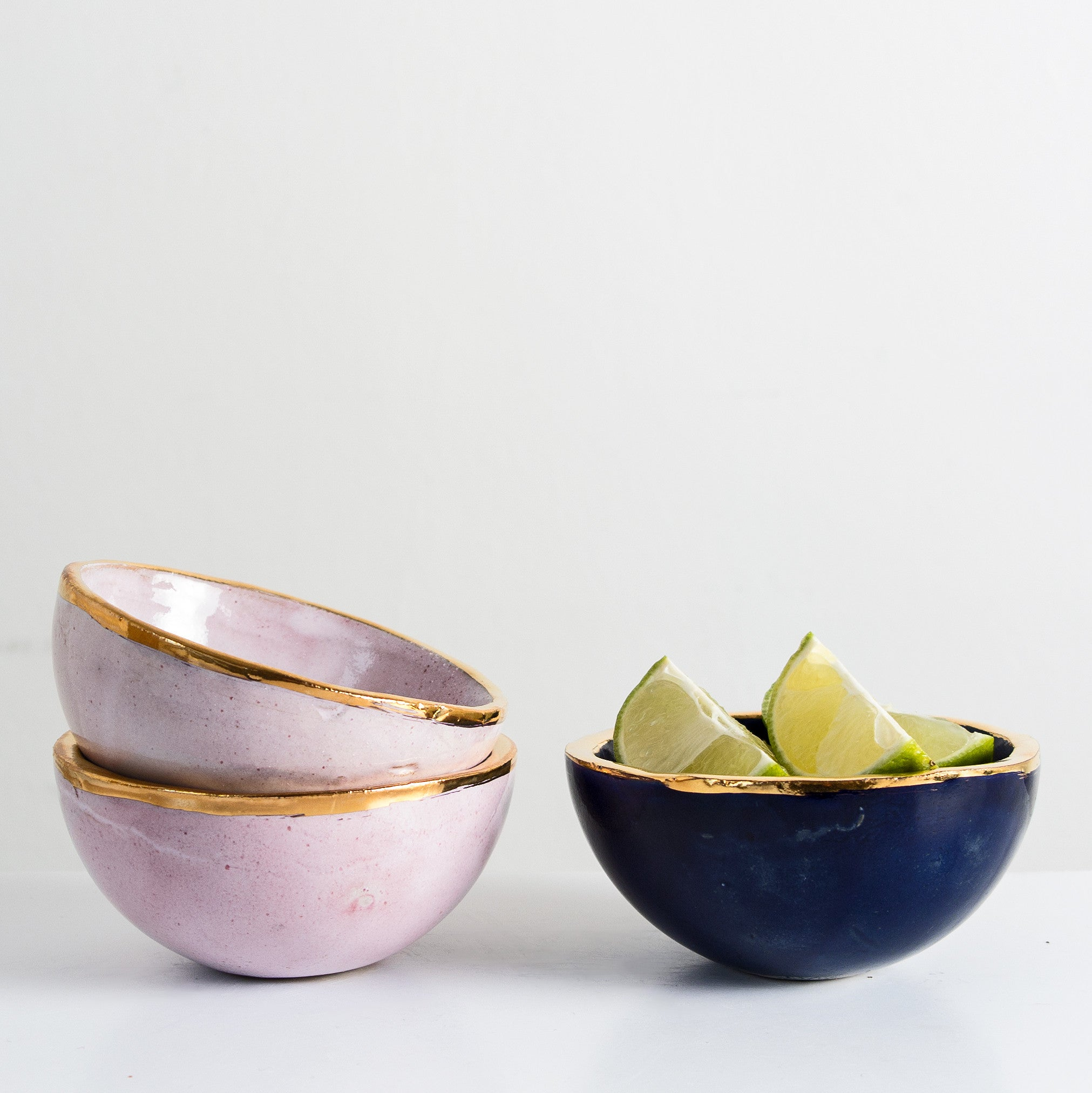 Handmade ceramic bowl with gold