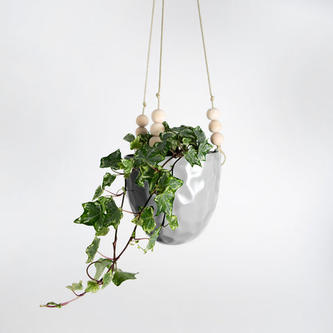 Grey glazed Plant hanger with wood bead detail