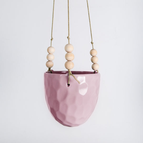 Rose pink glazed Plant hanger with wood bead detail