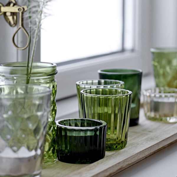 Green glass candle votive set with tray