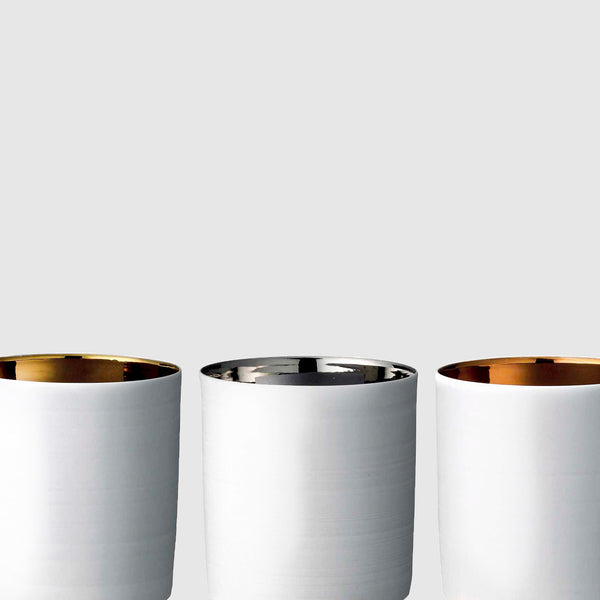 Porcelain votives with metallic glaze detail