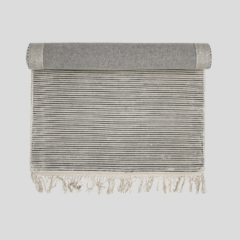 Cotton White and grey stripe runner rug