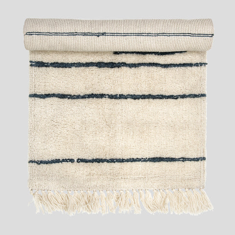 Wool stripe runner rug