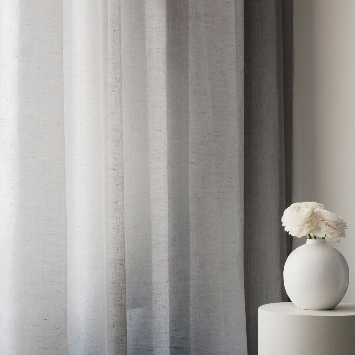 Curtain sheer linen fabric sample – Grey