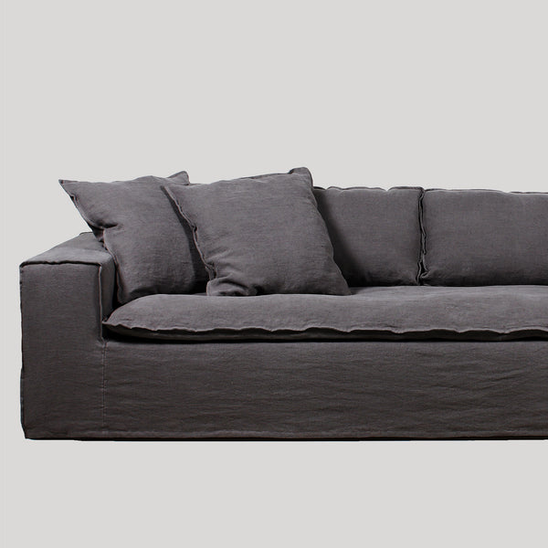 Luca dark grey 4 seat linen sofa