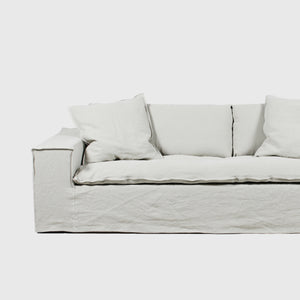 Luca off-white 4 seat linen sofa