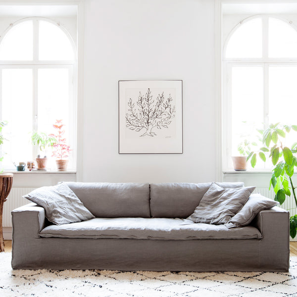 Luca medium grey 4 seat linen sofa