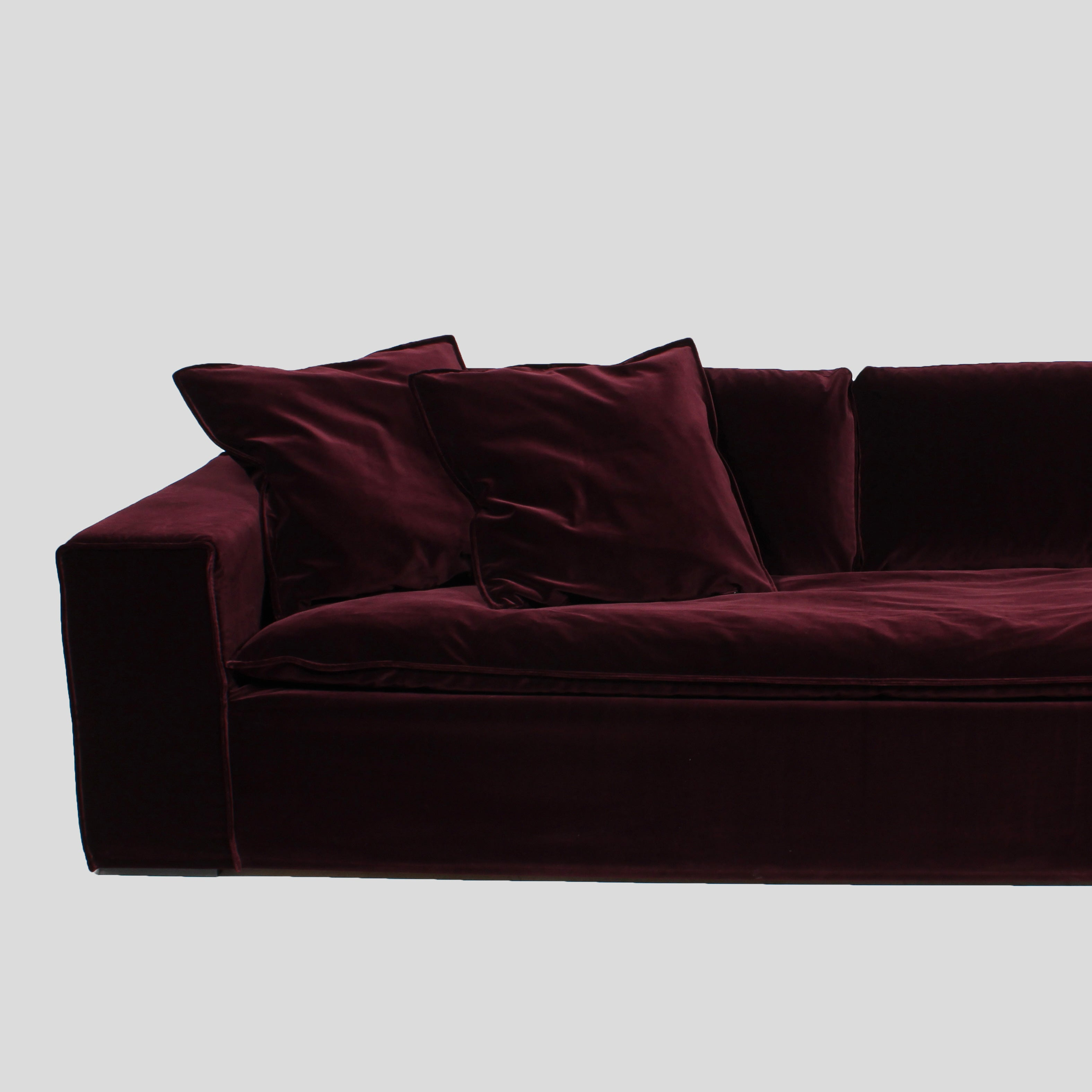 Luca Ruby Red 4 seat velvet sofa