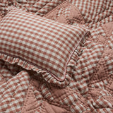 Wes gingham blush frill cushion