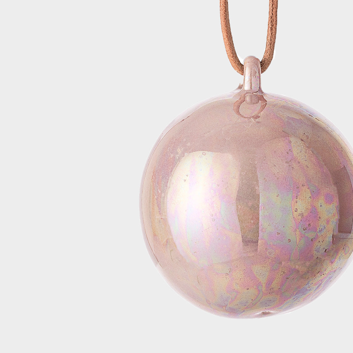 pink glazed ceramic decorative bauble