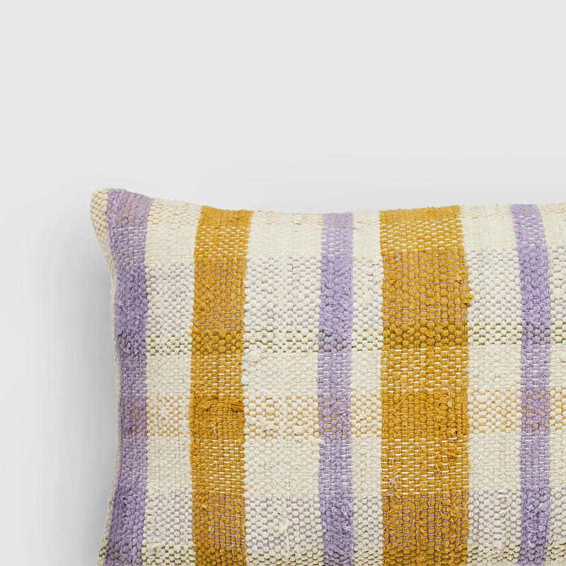 Handmade rectangle textured Cushion mustard and lavender