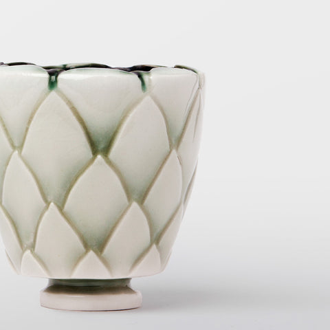 Handmade Protea pot in pale copper oxide by Caro Gates