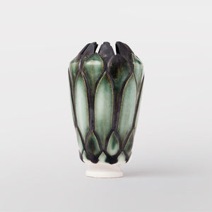 Handmade Protea pot in copper oxide by Caro Gates