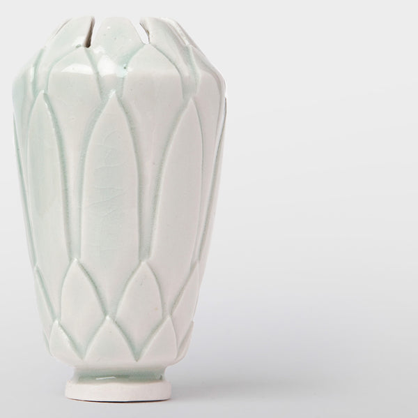 Handmade Protea pot in gloss green by Caro Gates