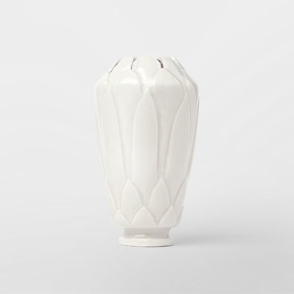 Handmade Protea vase in gloss white by Caro Gates