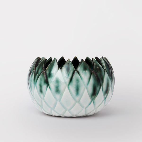 Handmade Thistle bowl in copper oxide by Caro Gates