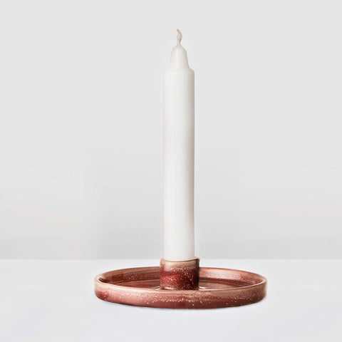 Red rust glazed candlestick holder