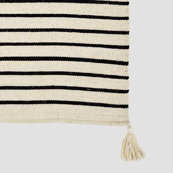 Cotton black and white stripe long runner rug