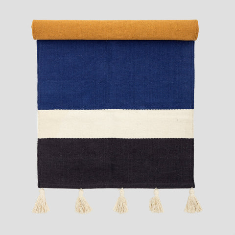 Cotton colour block runner rug