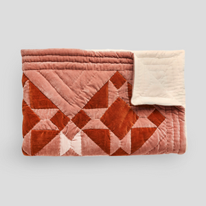 Handmade rust and pink Patchwork velvet quilt