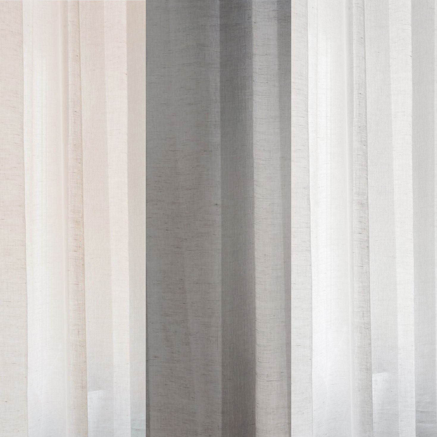 Curtain sheer linen fabric sample – White