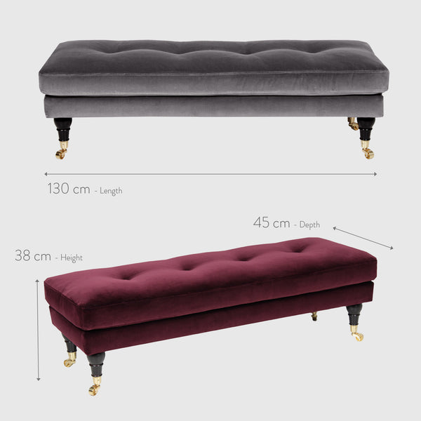 Ester ruby red velvet bench