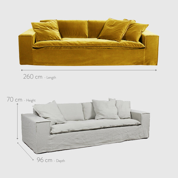 Luca off white 4 seat linen sofa